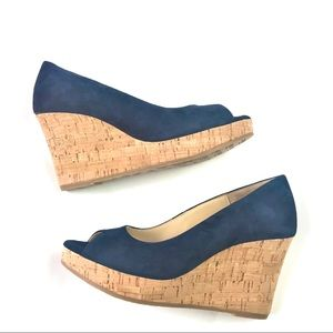 Cordani Size 36 Navy Faux Suede Cork Wedge Shoes